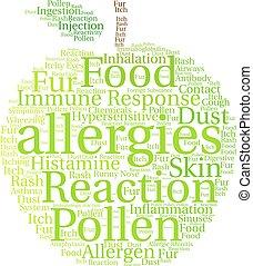 mot, nuage, allergies