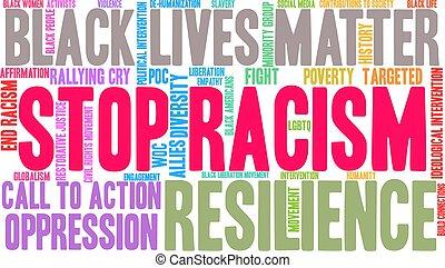 mot, nuage, arrêt, racisme