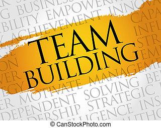 mot, nuage, bâtiment équipe