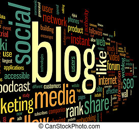 mot, nuage, blog, concept, étiquette