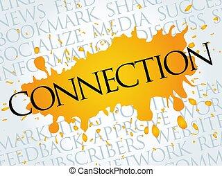 mot, nuage, connexion, collage