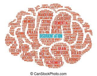mot, nuage, désorientation, cerveau
