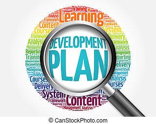 mot, nuage, développement, plan
