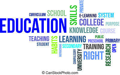mot, nuage, -, education