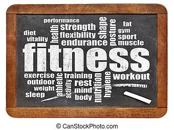 mot, nuage, fitness