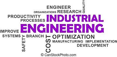 mot, nuage, -, industriel, ingénierie
