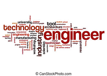 mot, nuage, ingénieur