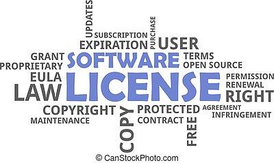 mot, -, nuage, licence, logiciel