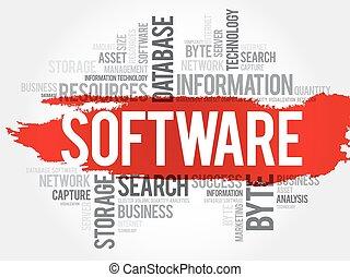 mot, nuage, logiciel