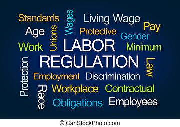mot, nuage, main-d'œuvre, règlement