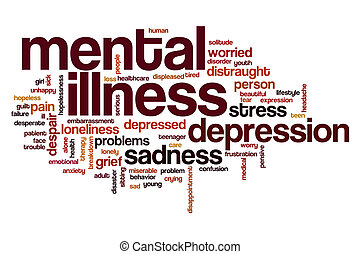 mot, nuage, maladie mentale