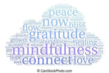 mot, nuage, mindfulness