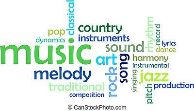 mot, -, nuage, musique