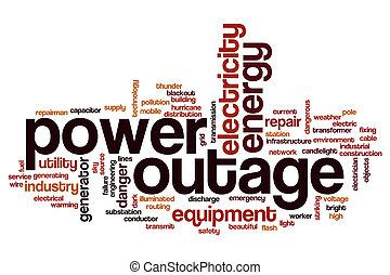 mot, nuage, outage, puissance