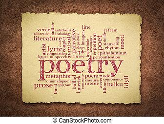 mot, nuage, poésie, chiffon, papier, fait main