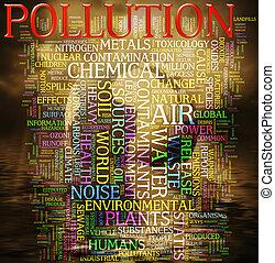 mot, nuage, pollution
