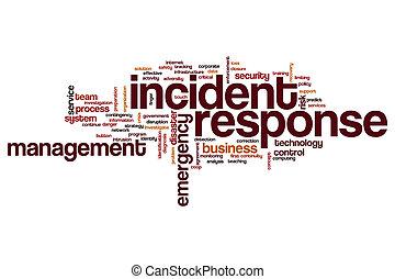 mot, nuage, réponse, incident