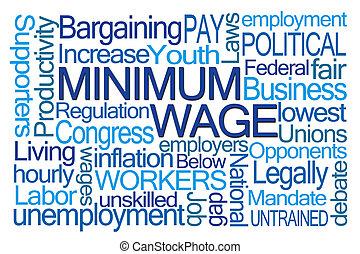 mot, nuage, salaire minimum
