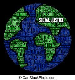 mot, nuage, social, justice