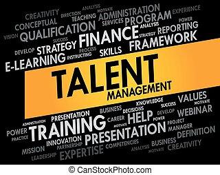 mot, nuage, talent, gestion