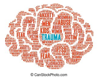 mot, nuage, trauma, cerveau