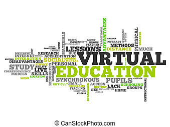 mot, nuage, virtuel, education