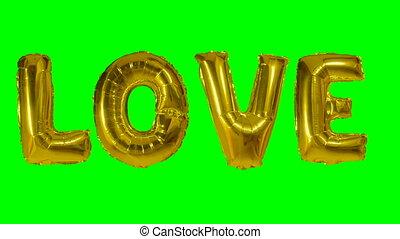 mot, or, balloon, vert, lettres, amour, flotter, hélium, écran