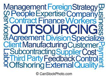 mot, outsourcing, nuage