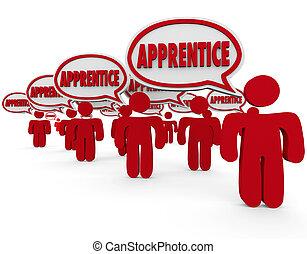 mot, ouvriers, parole, apprentissage, stagiaire, bulles, ...