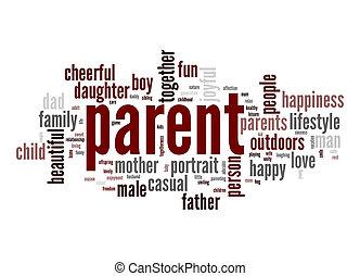 mot, parent, nuage