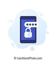 mot passe, mobile, sécurité, authentication
