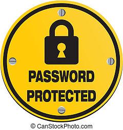 mot passe, protégé, -, cercle, signes