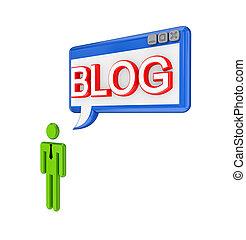 mot, personne, pc, fenêtre, blog., petit, 3d