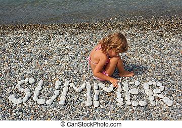 "mot, plage, combiné, girl, peu, ""summer""., assied, water., pierres"