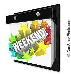 mot, plans, mur, temps, amusement, fermé, calendrier, week-end