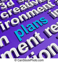 mot, plans, objectifs, planification, organiser, nuage, spectacles
