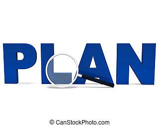 mot, plans, vise, planification, planifié, plan, spectacles
