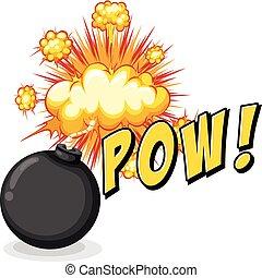 mot, pow, à, bombe, explosif