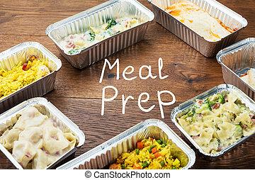 mot, préparation repas, écrit, plat à emporter, table, repas