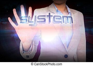 mot, présentation, système, femme affaires