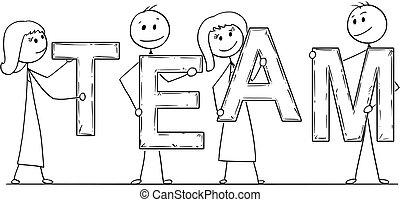 mot, professionnels, tenue, équipe, dessin animé