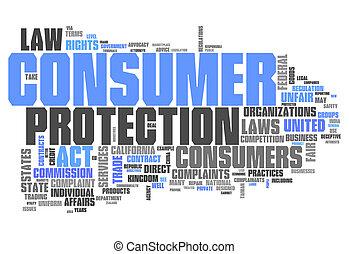 mot, protection, consommateur, nuage