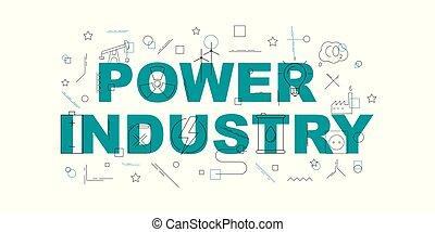mot, puissance, banner., industrie, vecteur, ligne, icon.