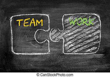 mot, puzzle, ensemble, morceaux, collaboration, joindre