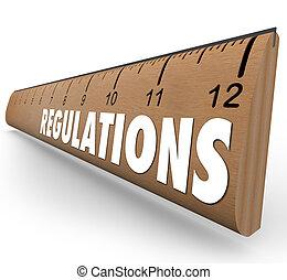 mot, règle bois, directives, règlements, règles, mesure