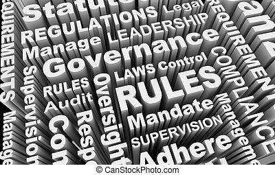 mot, règles, conformité, gouvernement, règlements, collage, illustration, lois, 3d