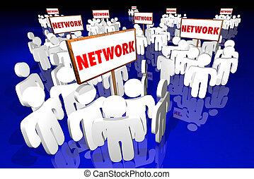 mot, réseau, gens,  Social, groupes, signes, communautés,  3D