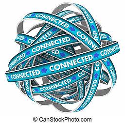 mot, réseau, illustration, connecté, boucle, 3d
