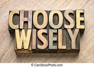 mot, résumé, bois, choisir, sagement, type