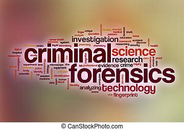 mot, résumé, forensics, fond, criminel, nuage